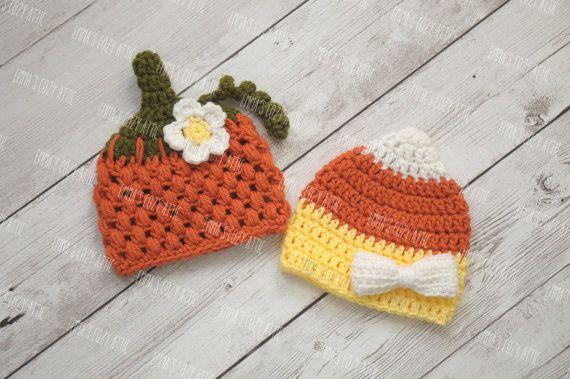 Twin girls halloween hats twin pumpkin and candy by emmascozyattic