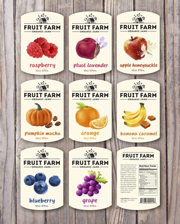 Fruit Farm Organic Jams by Dylan Wright, via Behance