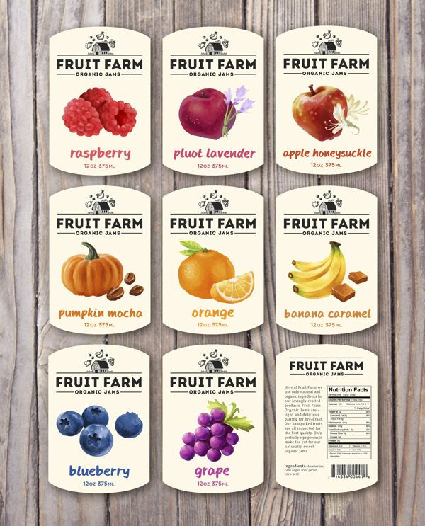 Fruit Farm Organic Jams by Dylan Wright, via Behance