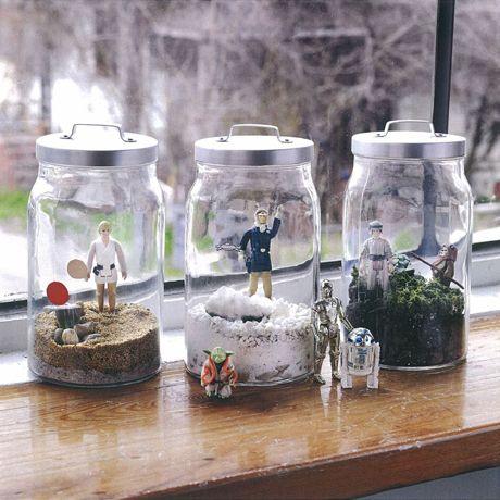 Susan Beal's Star Wars terrariums, from World of Geekcraft from @Chronicle Books: Geek, Star Wars, Crafts Projects, Action Figures, War Terrarium, Kids, Stars War Gifts Ideas, Jars, Starwars