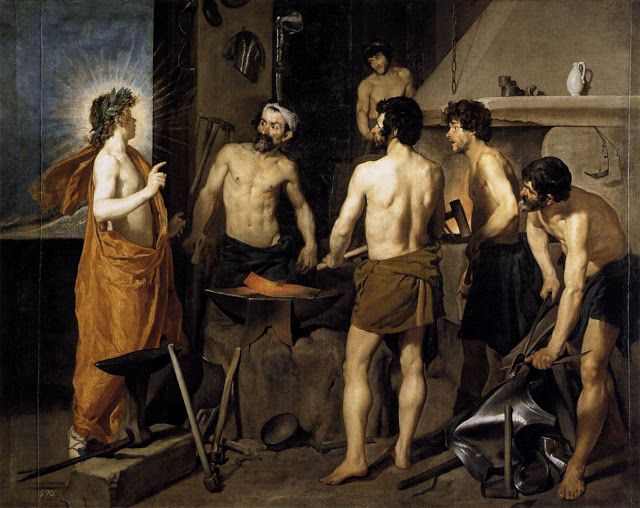 Το σιδηρουργείο του Ηφαίστου (1630)    (Ο Απόλλωνας αποκαλύπτει στον Ηφαιστο ότι η σύζυγός του Αφροδίτη τον απάτησε με τον Άρη)