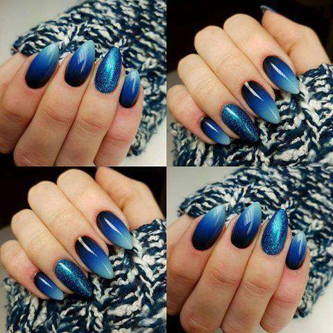 Black Poison, Bella Armata, Ultramarina, Paradise Beach Arte Brillante Gel Brush by Indigo Educator Angelika Wróbel, Pabianice #nails #nail #indigo #indigonails #ombre #winter #blue
