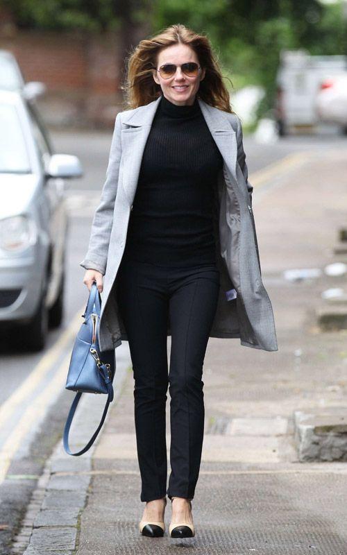 Geri Halliwell en total look noir