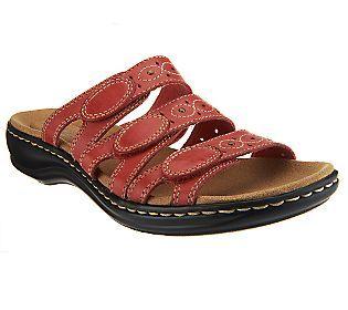 Clarks Bendables Leisa Cacti Leather Triple Strap Slides