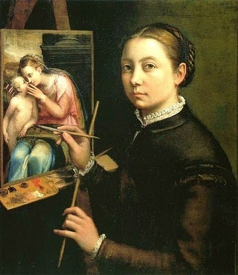 Sofonisba Anguissola (1532-1625?) Self Portrait at Easel. She was a Renaissance painter trained by Michelangelo and worked at the Spanish court.