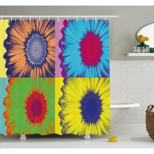 Found it at Wayfair - Pop Art Inspired Colorful Kitschy Daisy Flower Hard-Edged Western Design Shower Curtain Set