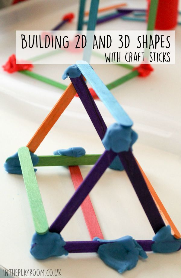 building 2d and 3d shapes from craft sticks. Fun and simple STEM activity for kids
