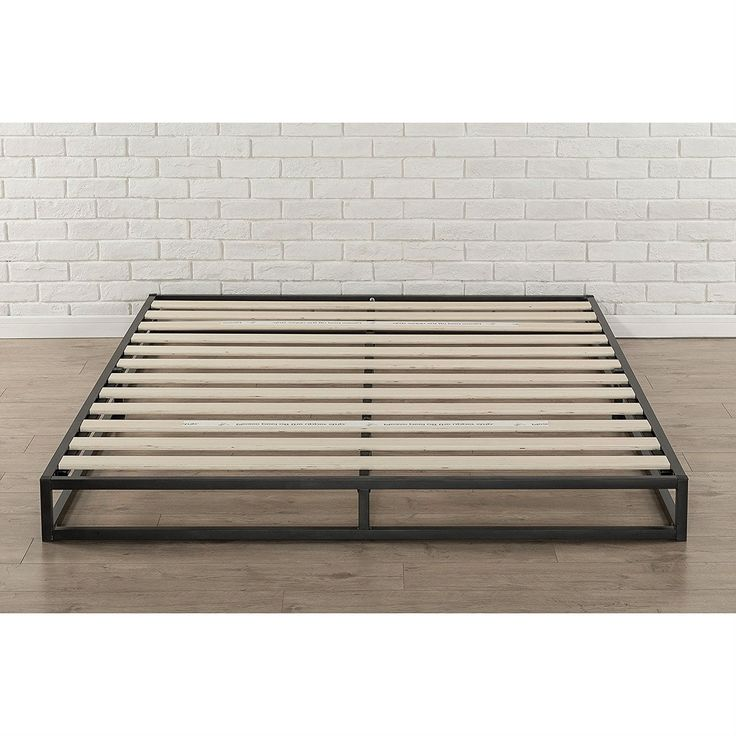full size 6inch low profile metal platform bed frame with wooden slats