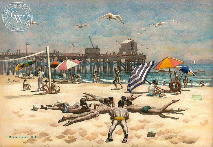 Standish Backus Jr. - Goleta Beach, 1954 - California art - fine art print for sale, giclee watercolor print - Californiawatercolor.com
