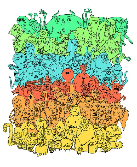 100 Adventure Time Characters    Designer Andy Ristaino created this artwork in conjunction with the 100th episode of Adventure Time.
