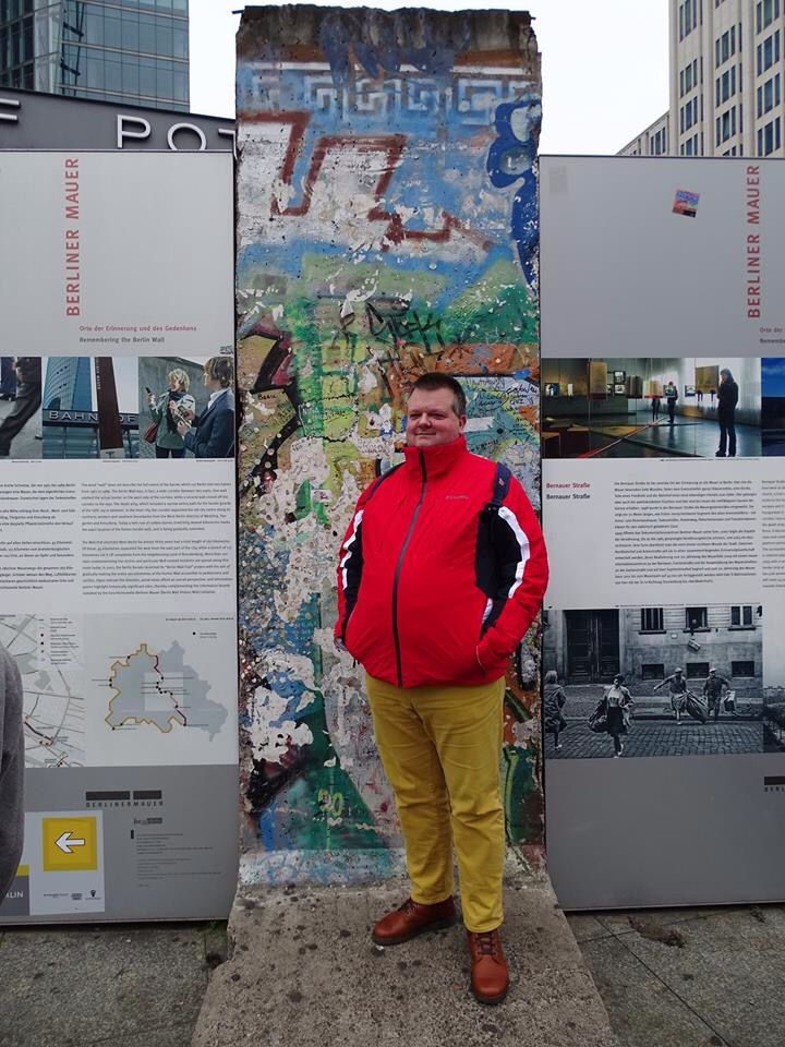 Me in front of a rescued piece of the Berlin Wall