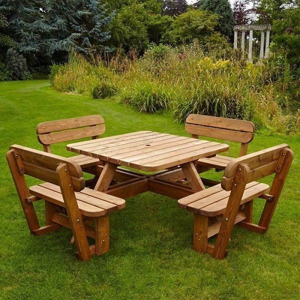 picnic table bench garden set 8 seater pine wood pub park. Black Bedroom Furniture Sets. Home Design Ideas