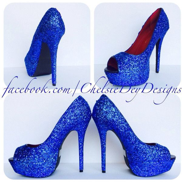 b2cf7b0920 Royal Blue Glitter High Heels Blue Open Toe Pumps Peep Toe Platform... (