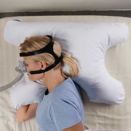 Sleep Apnea Pillow prevents the pillow from getting in the way of your C-PAP or Bi-PAP face mask. #Sleep_Apnea