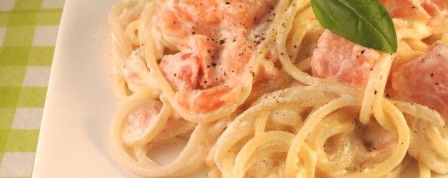 pasta met boursin en gerookte zalm