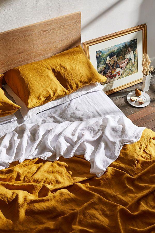 Turmeric 100 Flax Linen Bedding Set Bed Linen Sets Linen Duvet Covers Linen Duvet