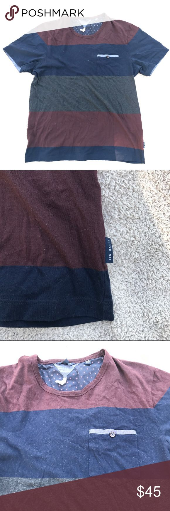 Ted Baker Color Block Tee Shirt Like New  Gently worn  No holes, rips or stains.  Open to offers  Bundle discounts available  Size 4 = Large Ted Baker Shirts Tees - Short Sleeve