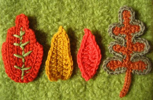 Leaves, mushrooms and acorns. Free Patterns linked in the Blog.