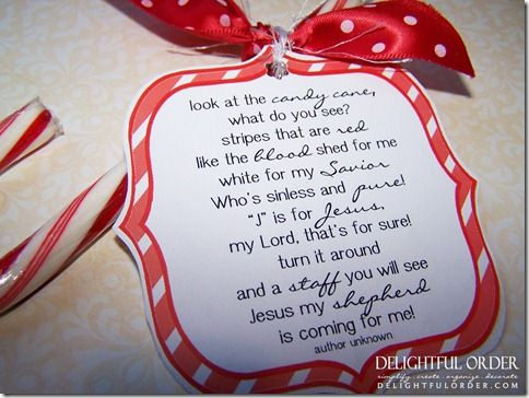 """(link) FREE Printable Candy Cane Poem! POEM: """"Look at the candy cane, what do you see? Stripes that are red like the blood shed for me. White for my Savior who's sinless and pure! """"J"""" is for Jesus my Lord, that's for sure! Turn it around and a staff you will see. Jesus my shepherd is coming for me!"""