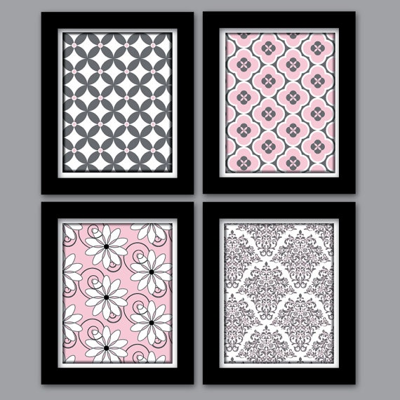 Pink and Grey Girls Nursery Wall Art Set of 4  by HollyPopDesigns, $35.00