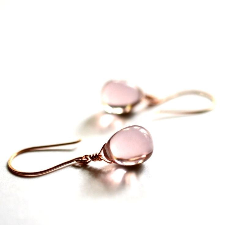 pretty pink glass drop earrings for your bridesmaids! #earrings #jewelry #bridesmaid #wedding #pink http://www.kahilicreations.com/product/pink-glass-drop-earrings