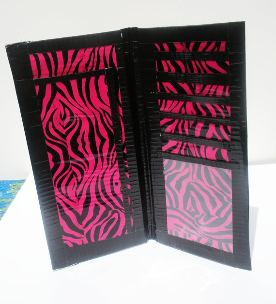 Pink and black zebra woman's duct tape wallet