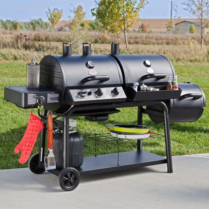 This hardworking, versatile grill lets you choose between charcoal and propane gas grilling, or classic smoking with the included side firebox.