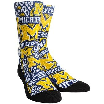Michigan Wolverines Rock Em Socks Logo Sketch Crew Socks