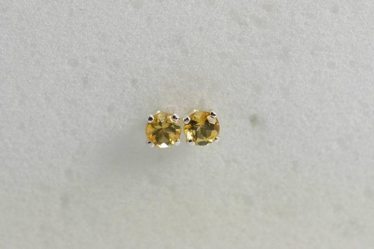 Citrine earrings silver - Studs 3MM sterling Silver Children's earring November birthstone