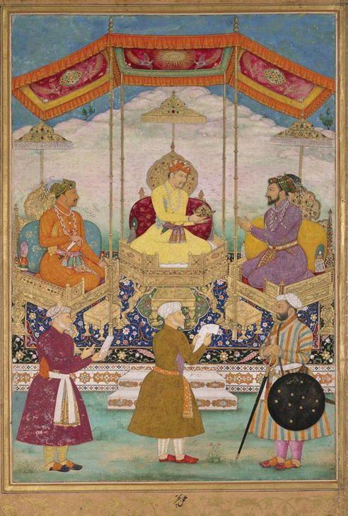 Akbar, Jahangir and Shah Jahan with their Ministers. Bichitr, 1630-31