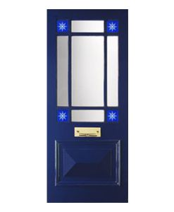 The Marlborough door available from Period Home Style. It's finished in a rich Royal Blue which brings out the beautiful etched design on the stained glass windows. All our doors & designs can be altered to suit your individual tastes.