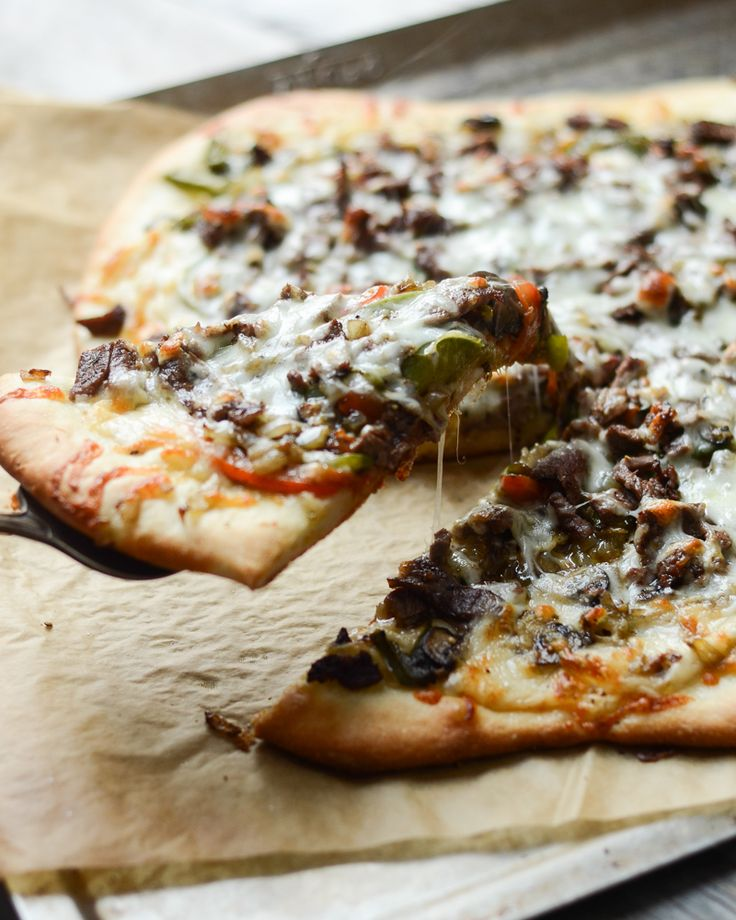 Philly Cheese Steak Pizza Recipe | Buttered Side Up @ericalea