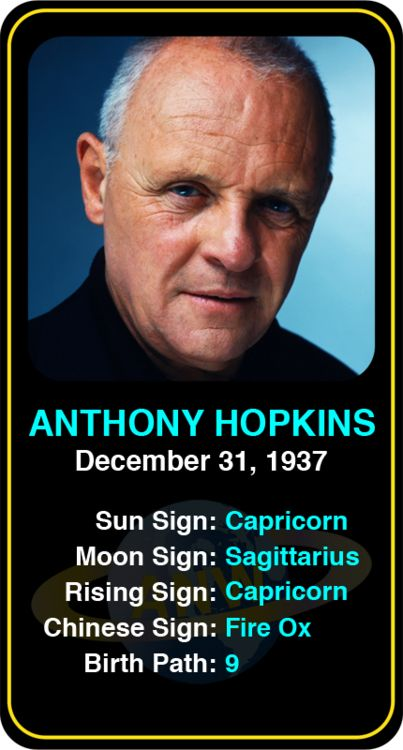 Celeb #Capricorn birthdays: Anthony Hopkins' astrology info! Sign up here to see more: https://www.astroconnects.com/galleries/celeb-birthday-gallery/capricorn?start=60 #astrology #horoscope #zodiac #birthchart #natalchart #anthonyhopkins