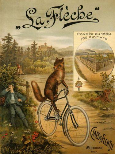 FOX-Riding-Bicycle-Bike-La-Fleche-Since-1869-Fine-Vintage-Poster-Repro-FREE-S-H