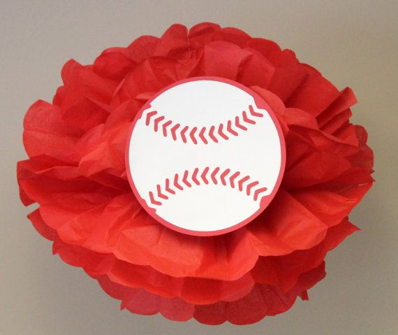Baseball pom, perfect addition to a sports-themed party!  Can also be turned into a centerpiece!