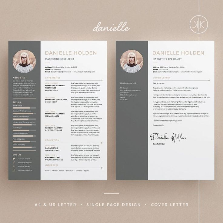 Danielle Resume/CV Template Word InDesign Etsy