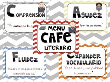 Chevron theme CAFE signs in spanish - bilingual CAFE signs