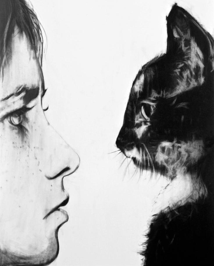 Cat - Charcoal on paper. Jon Thom