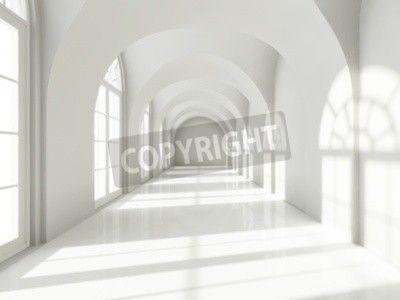 Nowoczesna długi korytarz z dużymi oknami na obrazach Redro. Najlepszej jakości fototapety, naklejki, obrazy, plakaty, poduszki. Chcesz ozdobić swój dom? Tylko z Redro
