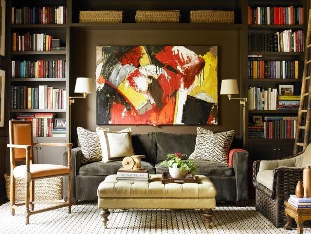 Best Large Painting And A Bookcase Behind Sofas Living Room 400 x 300