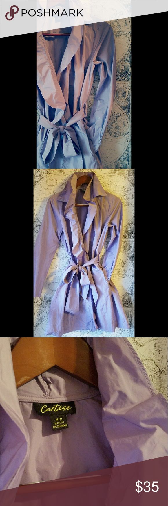 Cartise Lilac Spring Rain Coat Flirty ruffle lilac Cartise light weight rain coat with tie belt. East to pack, gorgeous on! Jackets & Coats Trench Coats