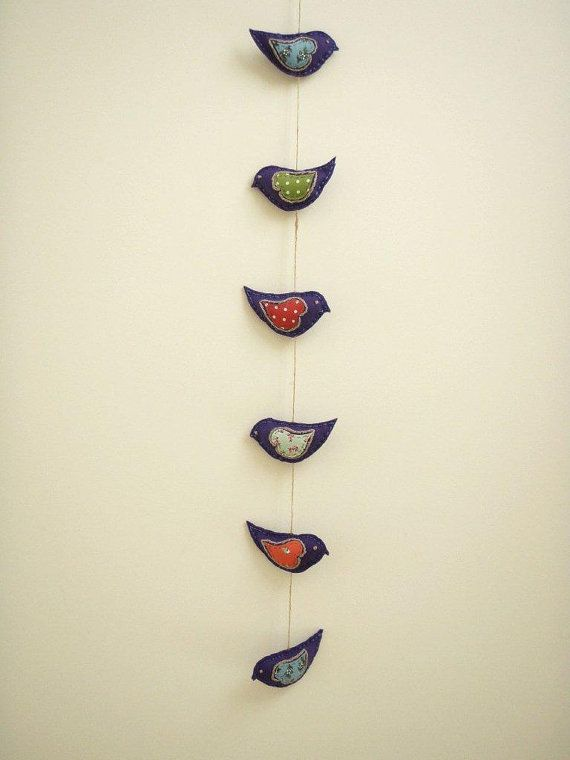 LOVEY DOVEY garland - Purple felt birds with vintage style fabric appliqué for baby nursery or kids bedroom decoration $40.00