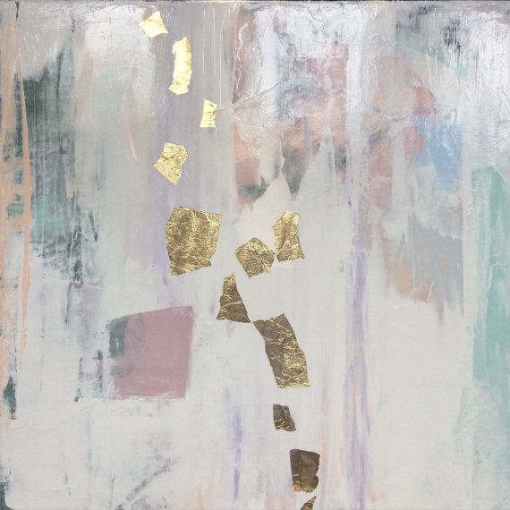 Abstract Painting 20x20 Gold Leaf And Neutral Colors White