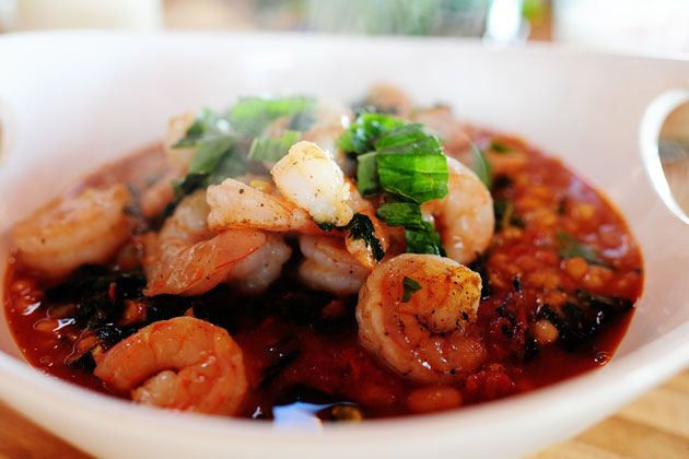 """Pioneer Woman - """"Tuscan Bean Soup w/Shrimp""""   We just tried recipe (didn't change a thing)  and it's FANTASTIC. I highly recommend it, especially if you're looking for a delicious way to get more kale into your diet (which you should be) ^__~"""