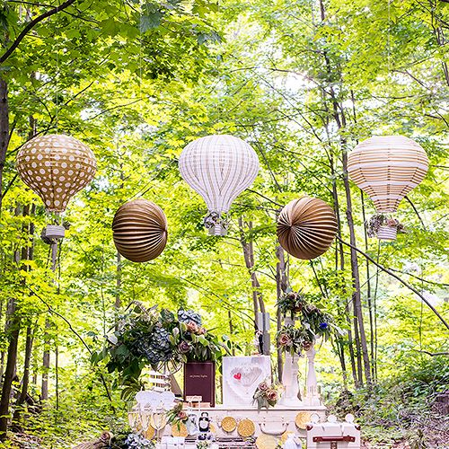 Set of 3 Hot Air Balloons http://www.weddingbelles.ca/collections/new-wedding-decor-for-spring-summer-2015/products/hot-air-balloon-paper-lantern-set-in-gold-and-white #weddingideas #wedding2015 $18.50
