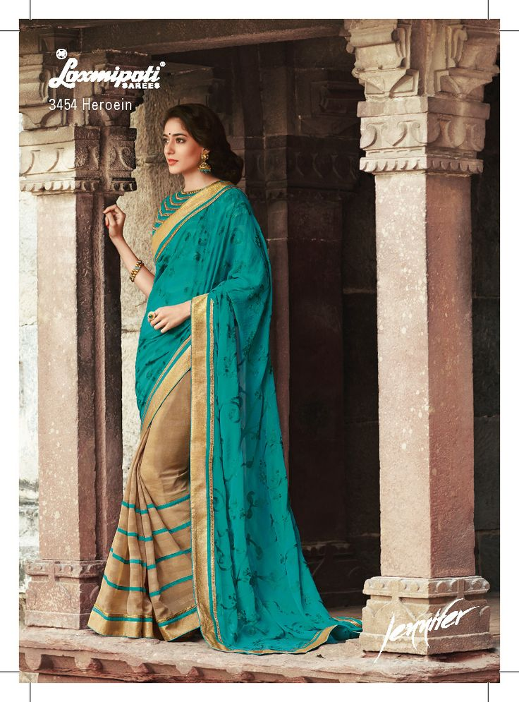 This one is our other unique half - half saree. This saree features heavy resham work sea green pallu, smoke effect +ribbon work patli and jari brocade lace. The golden plain unstitched brocade blouse is included with the saree.
