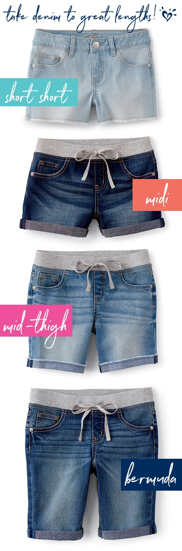 Soak up the summer fun in four awesome lengths in denim shorts.