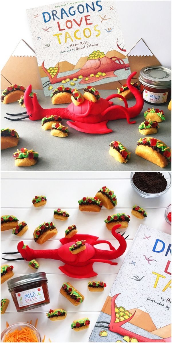 DIY Tiny Mini Taco Cakes Inspired by Dragons Love Tacos Book.