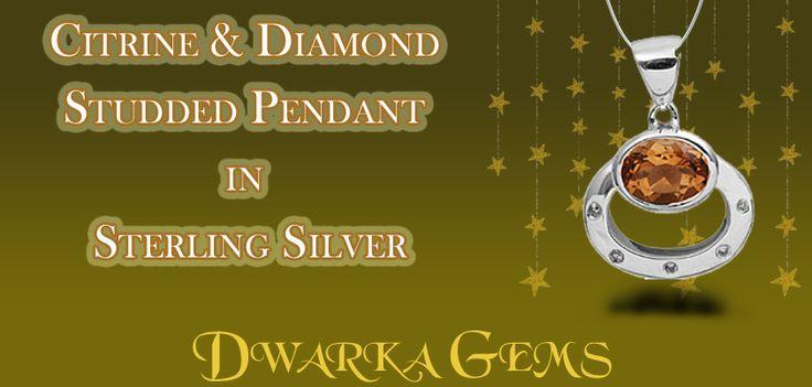 Citrine & Diamond Studded Pendant in Sterling Silver
