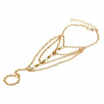 Crystal Tassel Chain Hand Slave Ring Bracelet